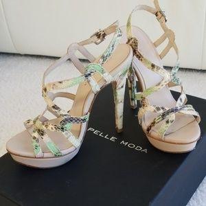 Platform sandals, faux snakeskin